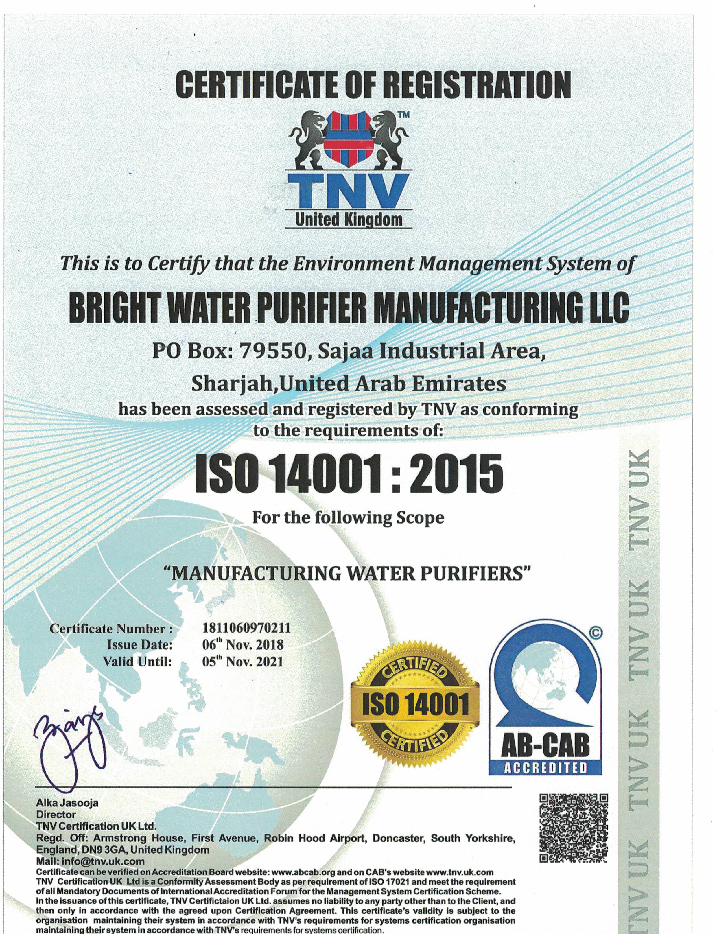 BRIGHT WATER PURIFIER MANUFACTURING LLC